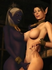 Lesbian Busty Elves pleased by monster