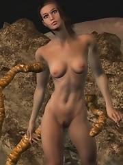 Busty girl the whole night dreams about hard tentacles sex